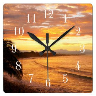 Sunrise in the Tropics Tropical Beach Square Wall Clock