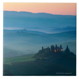 sunrise in the val d?orcia with farmhouse tile