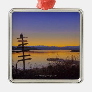 Sunrise in winter in Seattle 2 Silver-Colored Square Decoration