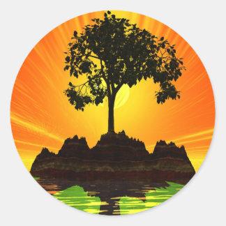 Sunrise Island Round Sticker