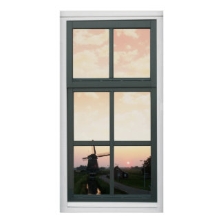 Sunrise Landscape Windmill Faux Window View Poster