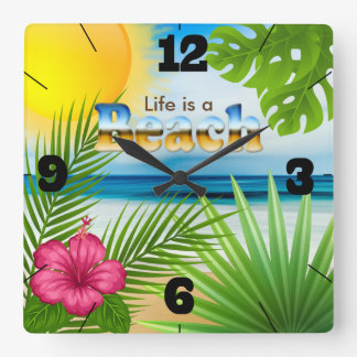 Sunrise Life is a Beach Design Square Wall Clock