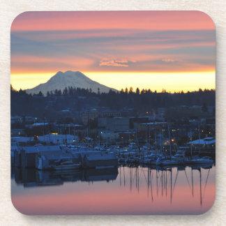Sunrise Mount Rainier and the Marina in Olympia WA Drink Coaster