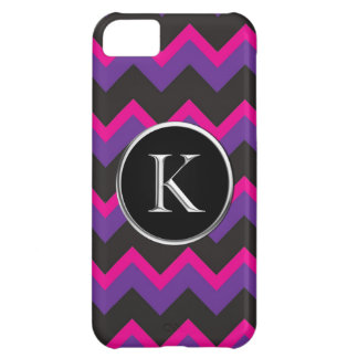 Sunrise Mountains Chevron K Silver Caslon Monogram Cover For iPhone 5C