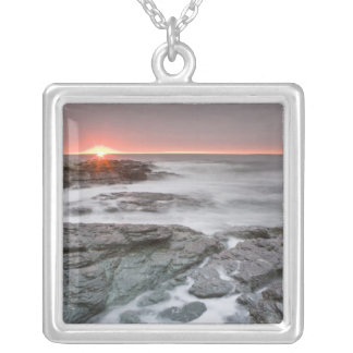 Sunrise near Brenton Point State Park on Ocean Silver Plated Necklace