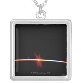Sunrise on Earth's Horizon Silver Plated Necklace