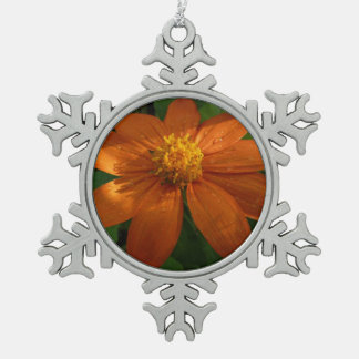 Sunrise on Mexican Sunflower Orange Floral Snowflake Pewter Christmas Ornament