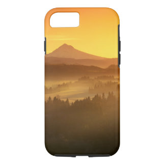 Sunrise orange colors the fog in the valley in iPhone 8/7 case