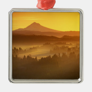 Sunrise orange colors the fog in the valley in Silver-Colored square decoration