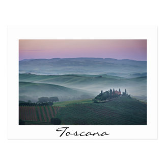 Sunrise over a Tuscany landscape white text card