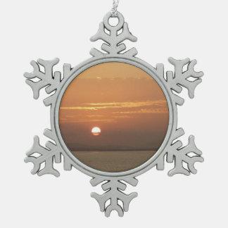 Sunrise over Aruba I Caribbean Seascape Pewter Snowflake Decoration