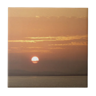 Sunrise over Aruba I Caribbean Seascape Small Square Tile