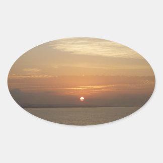 Sunrise over Aruba II Caribbean Seascape Oval Sticker