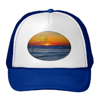 Sunrise over Atlantic Ocean Palms Tropical Plant 2 Cap