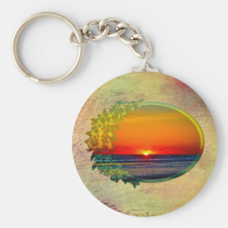 Sunrise Over Atlantic Oval with Flowers Key Ring