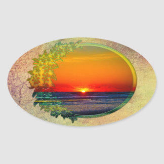 Sunrise Over Atlantic Oval with Flowers Oval Sticker