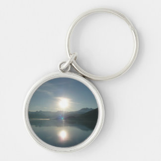 Sunrise over College Fjord Alaska Photography Silver-Colored Round Key Ring