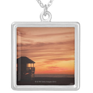 Sunrise over Crandon Beach at Key Biscayne Silver Plated Necklace