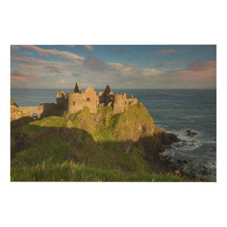 Sunrise Over Dunluce Castle Ruins Wood Print