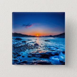 Sunrise Over Horizon At Seashore At Dawn 15 Cm Square Badge