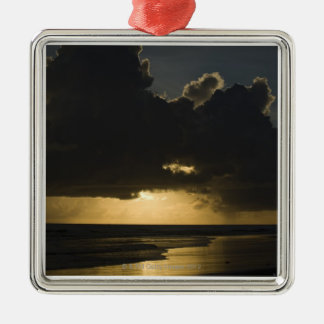 Sunrise over Indian Ocean, Vilanculos, Inhambane Silver-Colored Square Decoration
