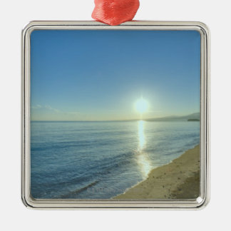 Sunrise over Pristine Tropical Beach Christmas Ornament