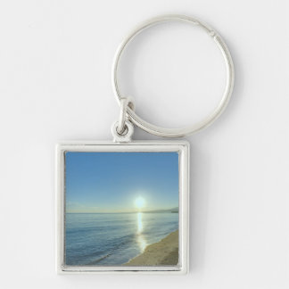 Sunrise over Pristine Tropical Beach Key Ring