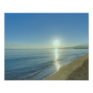 Sunrise over Pristine Tropical Beach Poster