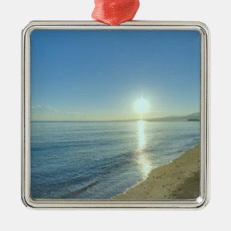 Sunrise over Pristine Tropical Beach Silver-Colored Square Decoration