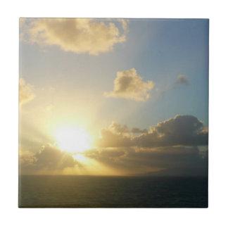 Sunrise over San Juan II Caribbean Seascape Small Square Tile