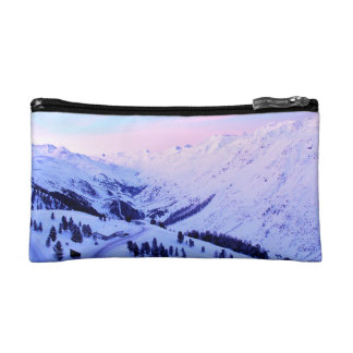 Sunrise over Snowy Mountains Makeup Bags