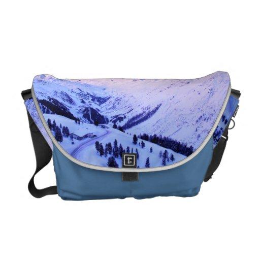 Sunrise over Snowy Mountains Messenger Bag