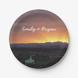 Sunrise over St. George Utah Landscape Paper Plate