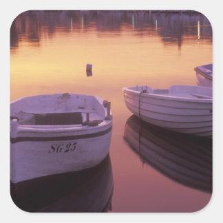 Sunrise over Stari Grad harbor with fishing Square Sticker