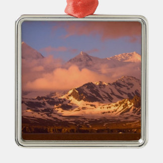 Sunrise over the mountain ranges on South Silver-Colored Square Decoration
