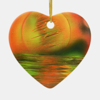 Sunrise over the ocean christmas ornament