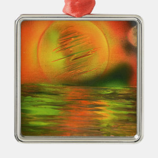 Sunrise over the ocean christmas ornament