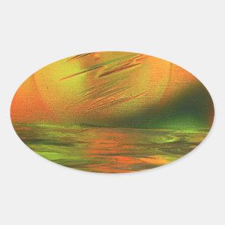 Sunrise over the ocean oval sticker