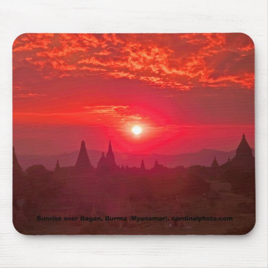 Sunrise over the Plain of Temples in Bagan, Burma Mouse Mat