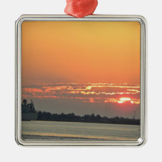 Sunrise over the river christmas ornament