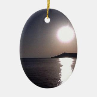 Sunrise over the sea christmas ornament