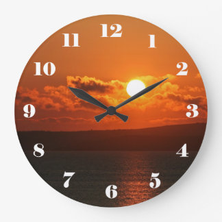 Sunrise over the sea in Cornwall Large Clock