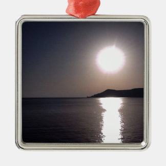 Sunrise over the sea Silver-Colored square decoration