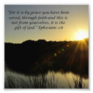 Sunrise Over Water Grace Ephesians 2:8 Print Photo