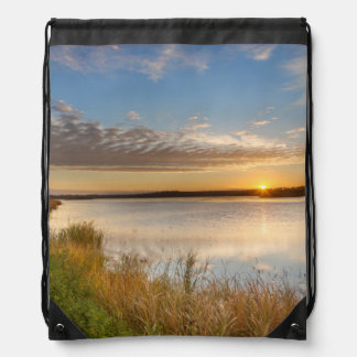 Sunrise Over Wetlands At Arrowwood National Drawstring Bag