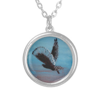 Sunrise Owl Art Silver Plated Necklace