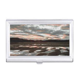 Sunrise reflections at Lago Grey Business Card Holder