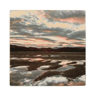Sunrise reflections at Lago Grey Wood Coaster