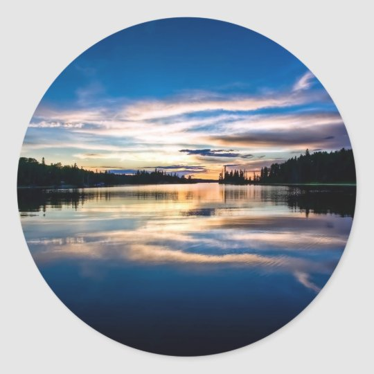 Sunrise River Reflections Classic Round Sticker