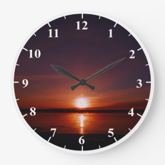 Sunrise Round Large Wall Clock With White Numbers